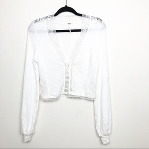 Free People White waffle knit lace trim crop top